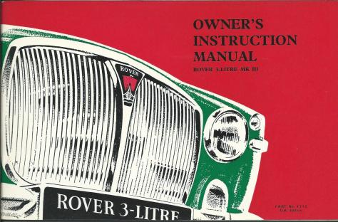 DSC_0001 1966 Rover 3 Litre Mk3 Owner's Instruction Manual Cove