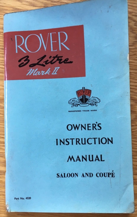 DSC_0001 Rover 3 Litre Mk2 Owners Manual Cover