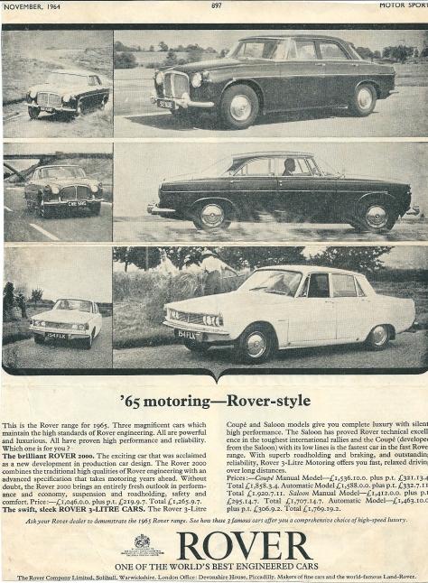 DSC_0035 Rover 3 Litre Mk 2 & 2000 Ad November 1964
