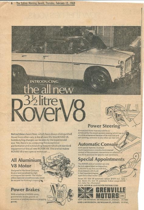 DSC_0041 Rover 3.5 Litre P5B Ad SMH 13-2-1969