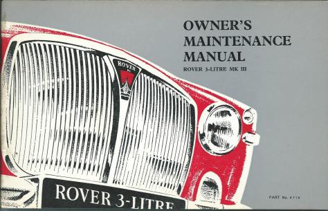 DSC_0101 1966 Rover 3 Litre Mk3 Owner's Maintenance Manual Cover