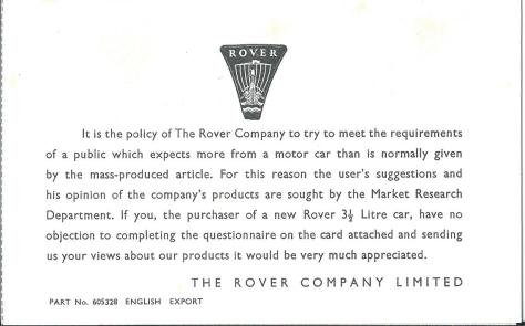 DSC_0301 Rover 3.5 Litre Market Research Questionaire page 1